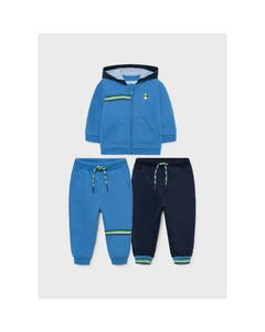 Mayoral Boys 3 Pc Tracksuit Set Blue & Navy Hooded 2 Pants Size 6m-36m | Tracksuits For Boys 918 Blue