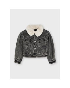 Mayoral Girls Jean Jacket Grey Heart Pockets Removable Fur Collar Size 2-8   Baby Girl Sweaters 4433 Black