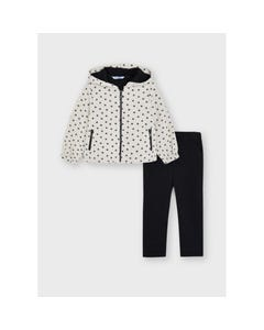 Mayoral Girls 2 Pc Tracksuit Hooded Beige & Black Small Flower Print Zip Closure Size 2-8 | Baby Tracksuits 4841 Beige