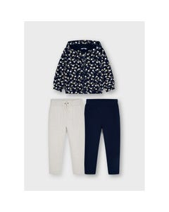 Mayoral Girls 3 Pc Tracksuit Navy & Beige Hooded Heart Print 2 Pants Navy & Beige Size 2-8 | Junior Tracksuits 4842 Navy