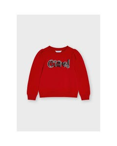 Mayoral Girls Pullover Red Black Sequin Ciao With Silver Thread Outline Size 2-8   Baby Girl Sweaters 4429 Red