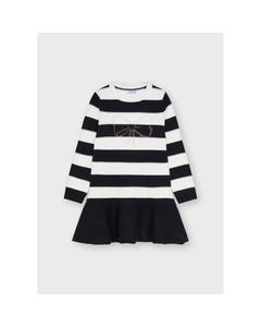 Mayoral Girls Knit Dress Black & White Stripe With Bow Print Long Sleeve Size 2-8 | Girls Party Dresses 4919 Black