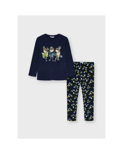 Mayoral Girls 2 Pc Legging Set Navy Top Mcl Bow Print Legging Sequin Bows Dolls Size 2-8 | Girls Two Piece Sets 4752 Navy