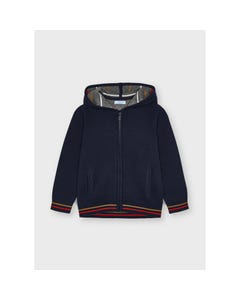 Mayoral Boys Knit Cardigan Navy Hooded Red & Tan Stripe Size 2-9 | Baby Boy Sweaters 4369 Navy