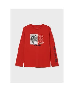 Mayoral Boys T Shirt Red Skateboarder Print Embroidered LetS Roll Nukutavake Size 8-18 | Baby Boy Shirts 7019 Red