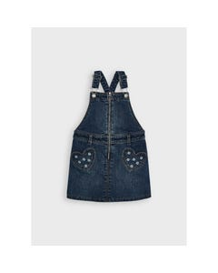 Mayoral Girls Denim Jumper 2 Heart Pockets With Zip Front Closure Size 2-8 | Rompers For Juniors 4911 Denim
