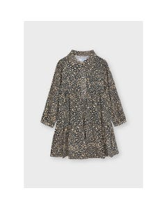Mayoral Girls Dress Camel & Brown Printed Flowers Small Front Buttons & Collar Size 2-8 | Kids Dress For Girls 4926 Brown