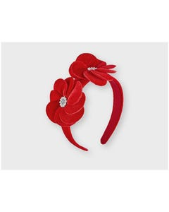 Mayoral Girls Velvet Hairband Red 2 Flower Applique Pearl Center Size OS | Toddler Girl Hair Accessories 10163 Red