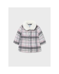 Mayoral Girls Plaid Coat Rose & Grey Removable Faux Fur Collar Size 12m-36m | Baby Coats 2433 Plaid