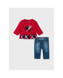 Mayoral Girls 2 Pc Denim Pant Red Top Plaid Flounce & Heart Size 1m-18m | Two Piece Outfits For Babies 2507 Red