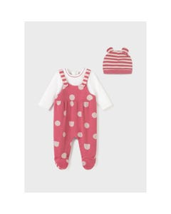 Mayoral Girls 2 Pc Sleeper & Hat Cranberry White Dot & Stripe Size 0m-18m | Baby Sleeper Gowns 2660 Pink