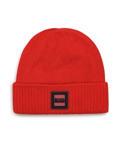 Hugo Boss Boys Knit Hat Red Pull On With Logo Badge On Brim Size 42-52 | Infant Hats J01120 Red