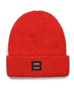 Hugo Boss Boys Pull On Hat Red Knit Logo Badge On Brim Size 54-58 | Baby Sun Hats J21242 Red