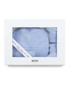 Hugo Boss Boys 2 Pc Hat & Booties Pale Blue Knit Size 1m-3m | Two Piece Outfits For Babies J9830A Blue