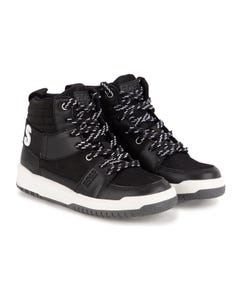 Hugo Boss Boys High Top Sneakers Black White Logo With Laces Size 27-40 | Boys Trainers J29271 Black
