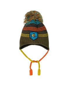 Deux par deux Girls Knit Hat Khaki With Multicolored Stripes & Ear Flaps With Tassels Size 4-14 | Outerwear For Girls D10ZN02 Green