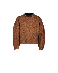 NoNo Girls Sweater Leopard Print Caramel Red Heart Embroidery Size 6-14 | Sweater For Girl Online Shopping 5301 Brown