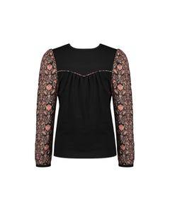 NoNo Girls Blouse Top Black Jersey & Floral Sleeves Size 6-14 | Baby Girl Shirts 5400 Black