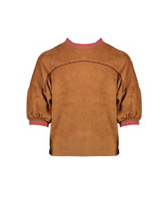 NoNo Girls Suede Top Brown Short Sleeves Ribbed Cuff & Neckline Multicolor Size 6-14 | Shirts For Girls 5401 Brown