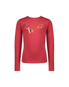 NoNo Girls Top Red Embroidery Travel Print Long Sleeve Size 6-14 | Baby Girl Shirts 5403 Red