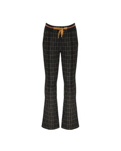 NoNo Girls Pant Black & Brown Check Flared Elastic Waistband With Pull Tie Size 6-14 | Girls Pants 5609 Black