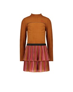 NoNo Girls Dress Brown & Multi Colored Velour Ribbed Top & Plissee Skirt Size 6-14 | Girls Party Dresses 5809 Brown