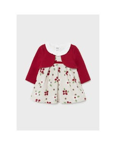 Mayoral Girls Velour Dress With Red Imitation Cardigan Beige Floral Print Size 1m-18m | Dresses For Babies 2820 Red