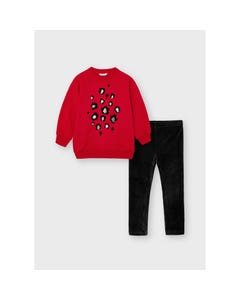 Mayoral Girls 2 Pc Red Top & Black Velour Legging Flower & Sequin Applique Size 2-8 | Girls Two Piece Outfits 4751 Red