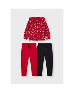 Mayoral Girls 3 Pc Cardigan & 2 Pant Tracksuit Red Heart Print Hooded & Red & Black Size 2-8 | Baby Girl Tracksuits 4842 Red