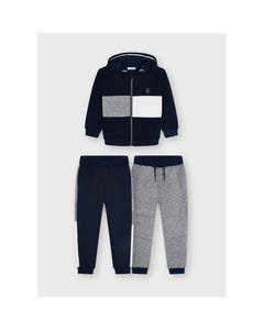 Mayoral Boys 3 Pc Cardigan & 2 Jogging Pant Hooded Navy & Grey& White Size 2-9 | Boys Co Ord Sets 4836 Navy