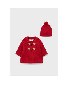 Mayoral Girls 2 Pc Cardigan & Hat Red Knit Cable Stitch Toggle Closure Brown Hearts Size 3m-18m | Toddler Sweaters 2365 Red