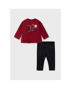 Mayoral Girls 2 Pc Top & Legging Red & Navy Flowers Applique & Stay Chic Girl Stud Size 6m-36m | 2 Piece Sets For Babies 2715 Red