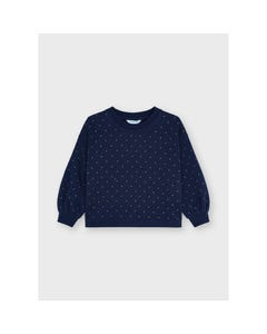 Mayoral Girls Pullover Navy With Studs Print Silver Size 2-8   Girls Sweaters 4431 Navy