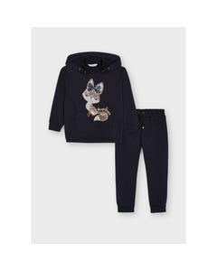 Mayoral Girls 2Pc Tracksuit Navy Hooded Sequin Cat Size 2-8 | Baby Girl Tracksuits 4840 Navy