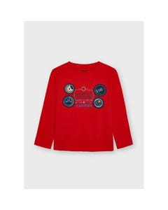 Mayoral Boys T Shirt Red Navy Play With Circles Long Sleeve Size 2-9 | Toddler Boy Shirts 4090 Red