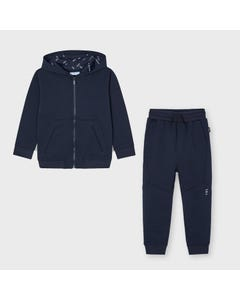 Mayoral Boys 2 Pc Tracksuit Navy Hooded Ribbed Effect Front Pockets Zip Closure Size 2-9 | Boys Tracksuits 44244558 Navy