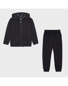 Mayoral Boys 2 Pc Tracksuit Black Hooded Ribbed Effect Front Pockets & Zip Closure Size 2-9 | Tracksuits For Boys 44244558 Black