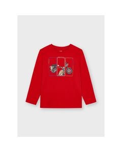 Mayoral Boys Tshirt Red Motorcycle Print Long Sleeve Size 2-9 | Boys Shirts 4088 Red