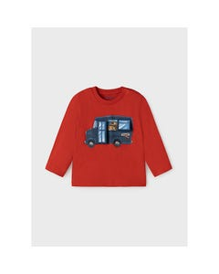 Mayoral Boys Tshirt Red Blue Bus LetS Play Long Sleeve Size 6m-36m | Infant Shirts 2065 Red