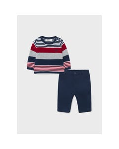 Mayoral Boys 2Pc Sweater & Pant Navy & Red & Grey Stripe Navy Pant Size 6m-18m | Baby Sweaters 2523 Navy