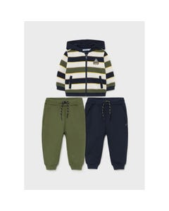 Mayoral Boys 3 Pc Tracksuit Striped Hooded Cardigan Green & Navy Pant Size 6m-36m | Toddler Boy Tracksuits 2828 Stripe