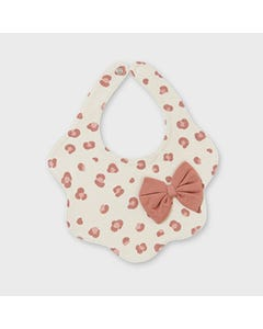 Mayoral Girls Bib Beige With Terracotta Print & Bow Size OS | Bibs For Babies 9012 Beige