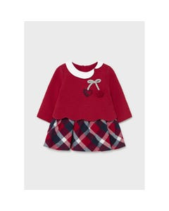 Mayoral Girls Dress Red Top Knit & Plaid Skirt White Collar Size 1m-18m | Baby Dresses 2806 Red