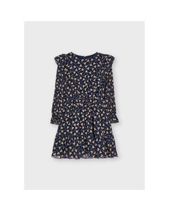 Mayoral Girls Dress Navy With Brown Heart Lollipop Print Chiffon With Flounces Size 2-8 | Baby Girl Dresses 4929 Navy