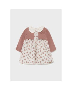 Mayoral Girls Dress With Imitation Cardigan Terracotta & Beige With Paw Print Size 1m-18m   Baby Dresses 2805 Pink