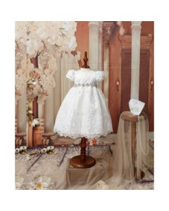Princess Daliana Girls Dress & Bonnet Off White Embroidered Tulle R Stone Swirl Belt Size 3m-24m | Christening Outfits For Babies Y90307 Ivory