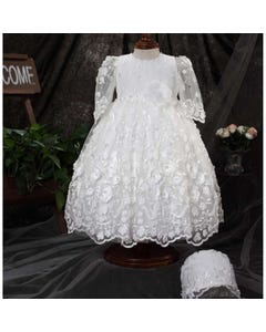 Princess Daliana Girls Dress & Bonnet Off White Embroidered Tulle & Flower Applique Size 3m-24m | Baby Christening Outfits Y90306 Ivory