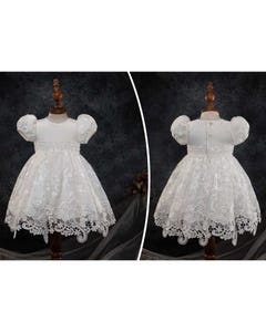 Princess Daliana Girls Gown & Bonnet Off White Embroidered Organza Pearl Beaded Belt Size 3m-12m | Baby Baptism Clothes 18149B Ivory