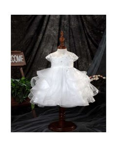 Princess Daliana Girls Dress Off White Sparkly Lace Bodice Trim & Tulle Layers With Hhair Size 3m-24m | Christening Outfits For Babies Y9011071 Ivory
