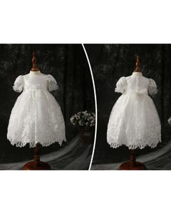 Princess Daliana Girls Dress & Bonnet Offwhite Lace & Sequin Embroidered Skirt Pearl Trim Size 3m-24m | Baby Christening Outfits Y9021223 Ivory
